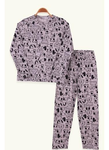 Breeze Çocuk Pijama Takimi Kedili Köpekli Gri (5-10 Yaş) Gri